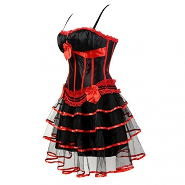 Grebrafan Gothic Brokat Korsett Vintage-Stil Party Kleid Corsage mit Tüllrock (EUR(36-38) L, Rot Schwarz) - 2