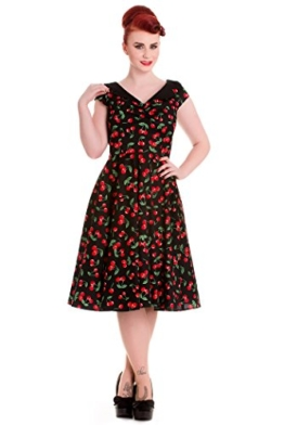 Hell Bunny Damen Kleid Cherry Pop Kirschen Swingkleid Schwarz XS - 1