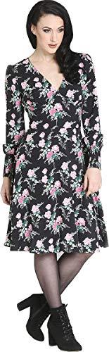 Hell Bunny Damen Kleid Felicia Vintage Rosen Langarm Dress Schwarz S - 1