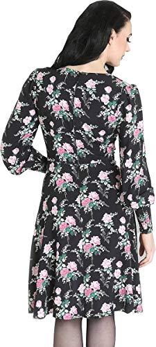 Hell Bunny Damen Kleid Felicia Vintage Rosen Langarm Dress Schwarz S - 3