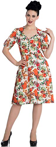 Hell Bunny Damen Kleid Harvest Vintage Pumpkin Acorn Dress Creme L - 1