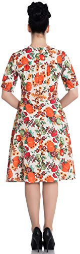 Hell Bunny Damen Kleid Harvest Vintage Pumpkin Acorn Dress Creme L - 2