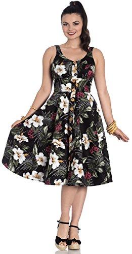 Hell Bunny Damen Kleid Tahiti Hibiskus Tiki Swing Dress Schwarz S - 1