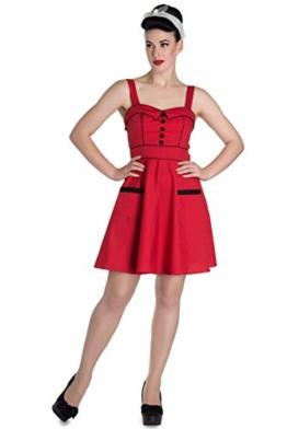 Hell Bunny Damen Kleid Vanity Punkte Minikleid (L, Kirschrot mit schwarzen Pünktchen) - 1