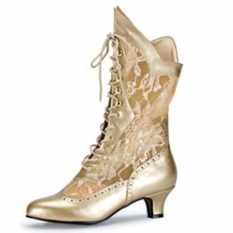 Higher-Heels Funtasma Kostüm-Stiefeletten Dame-115 mattgold Gr. 37 - 1