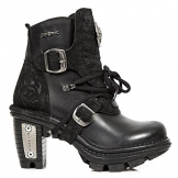 New Rock Womens M TR061 Neo Trail Gothic Black Leather Boots 39 EU - 1