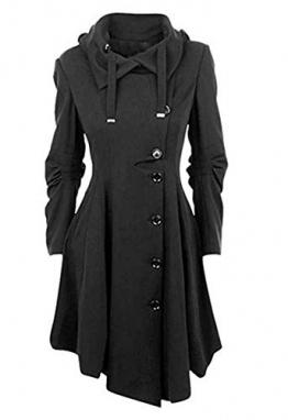O.AMBW Damen Herbst Winter Trenchcoat Mäntel mit unregelmäßiger Saum Lang Asymmetrisch Mantel Jacke - 1