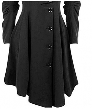 O.AMBW Damen Herbst Winter Trenchcoat Mäntel mit unregelmäßiger Saum Lang Asymmetrisch Mantel Jacke - 4
