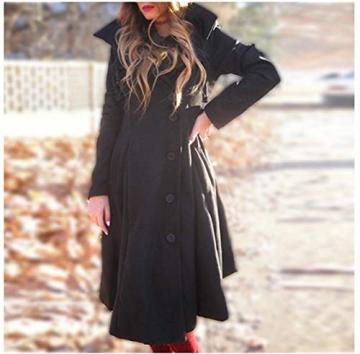O.AMBW Damen Herbst Winter Trenchcoat Mäntel mit unregelmäßiger Saum Lang Asymmetrisch Mantel Jacke - 6