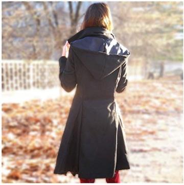 O.AMBW Damen Herbst Winter Trenchcoat Mäntel mit unregelmäßiger Saum Lang Asymmetrisch Mantel Jacke - 7