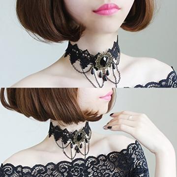Ouinne Halsreife Spitze Gothic Blume Lolita Perlen Schmuck Anhänger Halsband Choker Halskette, Schwarz - 4