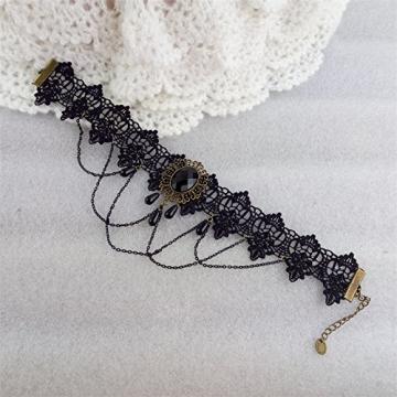 Ouinne Halsreife Spitze Gothic Blume Lolita Perlen Schmuck Anhänger Halsband Choker Halskette, Schwarz - 6