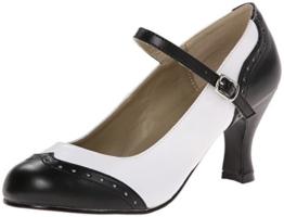 Pleaser Damen Flapper 25 Pumps &Amp Heels mit Blockabsatz, Black (Blk Wht Pu), Gr. 39 EU( 6 UK) - 1