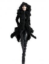 Punk Rave Damen Schwarz Gothic Unregelmäßige Quaste Kapuzen Jacke Mantel L - 1