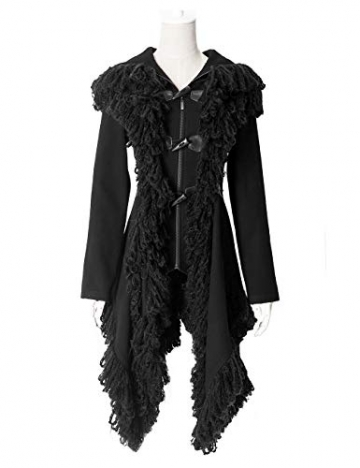 Punk Rave Damen Schwarz Gothic Unregelmäßige Quaste Kapuzen Jacke Mantel L - 4