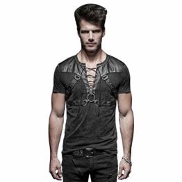 Punk Rave Schwarz Gothic Steampunk Soldat Strappy Short T-Shirt für Herren L - 1