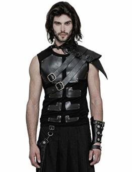 Punk Rave Schwarzer Steampunk Gothic Cosplay Leder One-Shoulder Kragen Kostüm Zubehör für Herren - 1