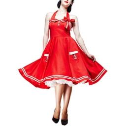 Rockabilly 50ziger Jahre Kleid Motley im Matrosenstil von Hell Bunny London mit Neckholdern rot - S - 1